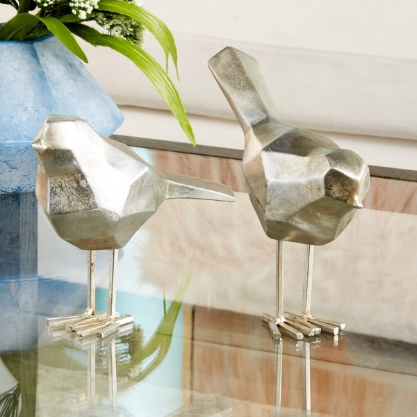 "Modern Metallic Silver Bird Figurine Decor Set of 2 - 3"" x 7"", 3"" x 8"""
