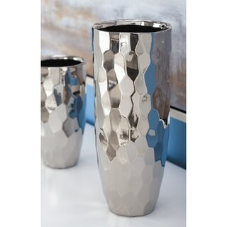 Silver Orchid Olivia Ceramic Silver Vase 5 inches wide, 12 inches high