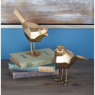 "Modern Metallic Gold Bird Figurines Décor Set of 2 - 3"" x 7"", 3"" x 8"""