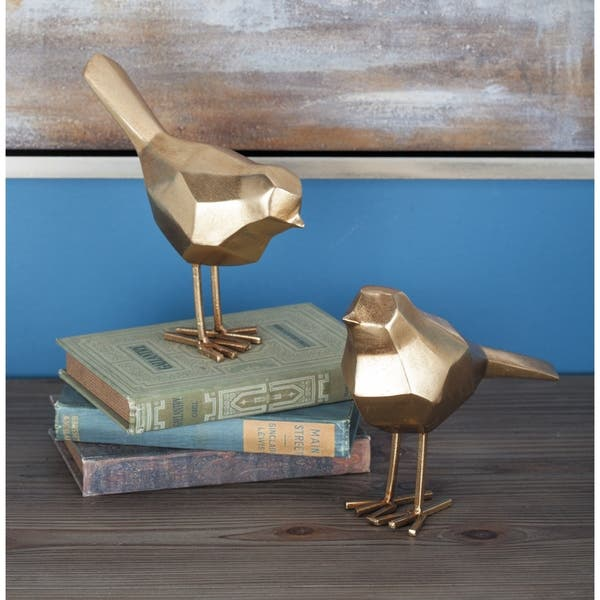 Modern Metallic Gold Bird Figurines Décor Set Of 2 3 X 7 3 X 8 On Sale Overstock 21285046
