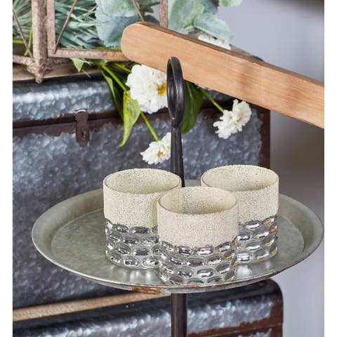 Silver Orchid Olivia 3-piece Modern Glass Cylindrical Silver Candle Holder Set