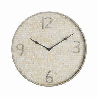 Silver Orchid Derba 18 inch Modern Round Shell-Inlaid Stainless Steel Wall Clock