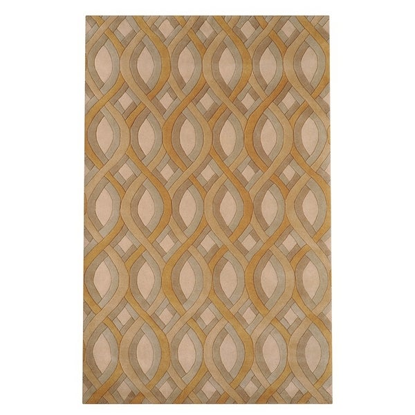Silver Orchid Blackwell Hand-tufted Beige Geometric Wool Area Rug - 5' x 8'