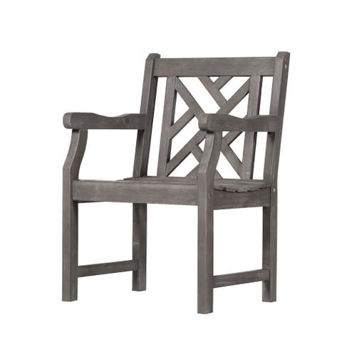 Surfside Outdoor Hand-scraped Acacia Hardwood Arm Chair by Havenside Home