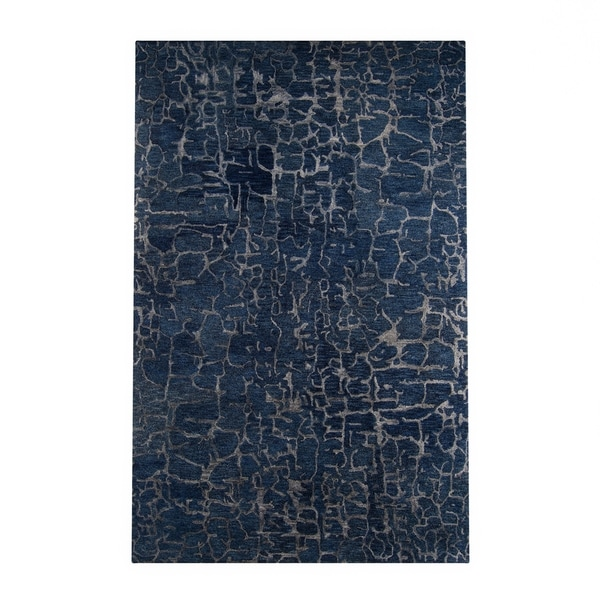 Silver Orchid Michel Hand-tufted Blue Wool Area Rug - 8' x 11'