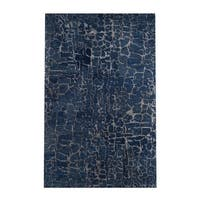 Silver Orchid Michel Hand-tufted Contemporary Blue Papillion New Zealand Wool Abstract Area Rug - 5' x 8'