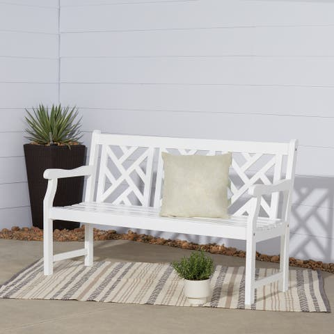 Surfside White Wood Garden Bench by Havenside Home