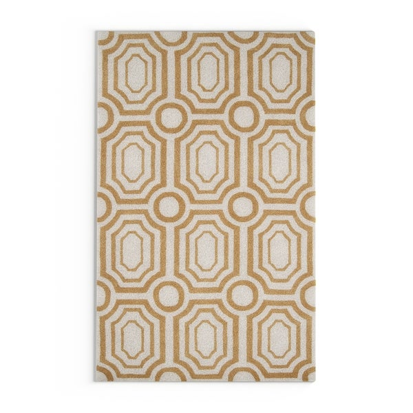 Silver Orchid Monthil Hand-tufted Gold Area Rug - 5' x 7'6