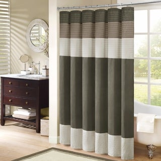 Palm Canyon Linden Pieced Faux Silk Shower Curtain