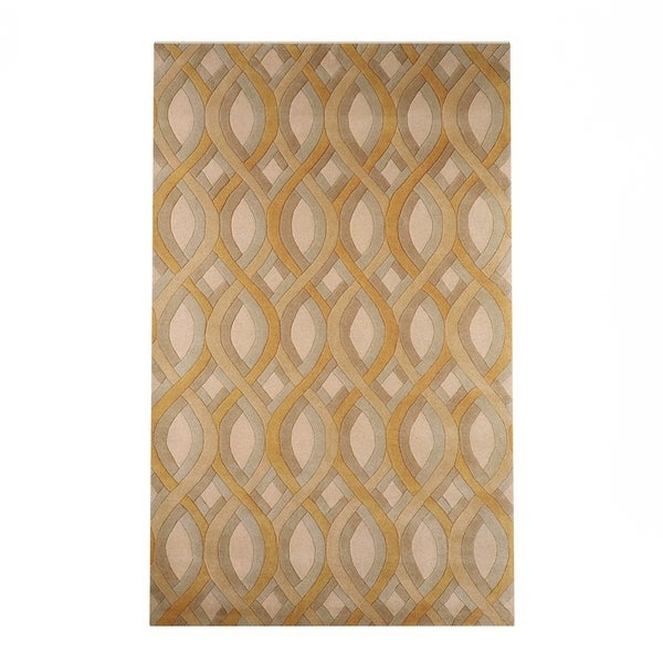 Silver Orchid Genevois Hand-tufted Tan Geometric PWool Area Rug (9' x 13')