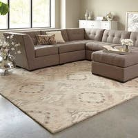 Silver Orchid Almirante Abstract Handmade Beige/ Ivory Rug - 5' x 8'