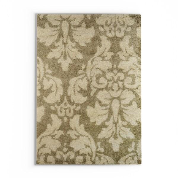 "Silver Orchid Barrella Damask Floral Shag Ivory/ Beige Rug - 7'10"" x 10'10"""