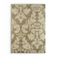 "Silver Orchid Barrella Damask Floral Shag Ivory/ Beige Rug - 6'7"" x 9'6"""