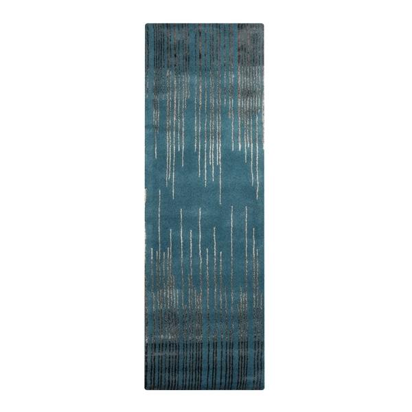 "Silver Orchid Berliner Hand-Tufted Geometric New Zealand Wool Runner Rug - 2'6"" x 8' Runner"