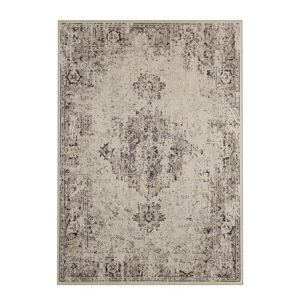"Silver Orchid Vinot Overdyed Antiqued Grey/ Charcoal Area Rug - 5'3"" x 7'6"""