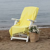 Porch & Den Sunnyside Authentic Pestemal Fouta Jacquard Tuscan Sun Turkish Cotton and Terry Bath/Beach Towel