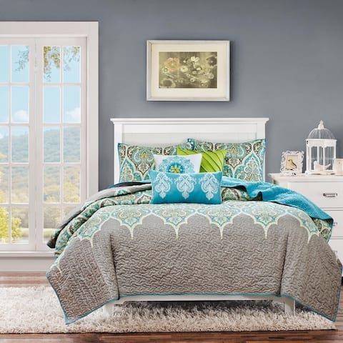Madison Park Tara Teal 6-piece Quilted Coverlet Set