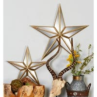Silver Orchid Grant Metal Mirror Wall Star 15-inch, 21-inch (Set of 2)