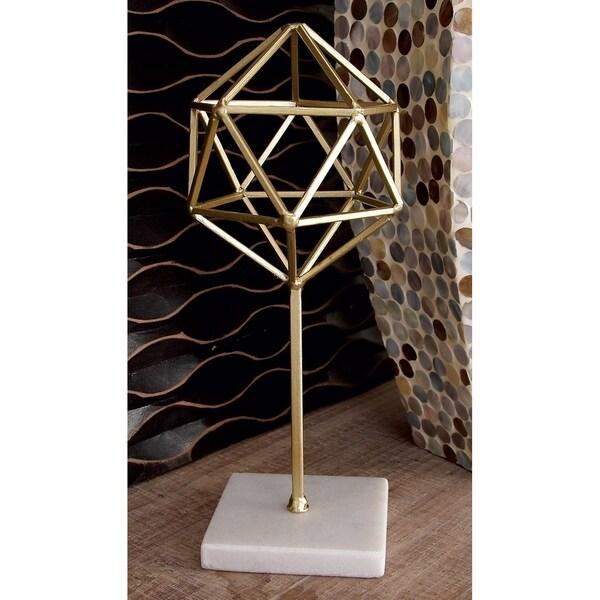 "Gold Metal Modern Geometric Orb Sculpture on Marble Base 5"" x 11"""