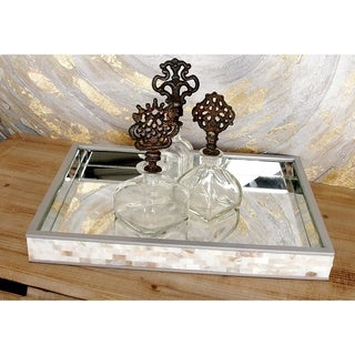 Silver Orchid Olivia Mesmerizing Wood Mirror Mop Tray - Beige/Silver