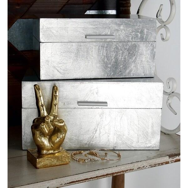"Studio 350 Silver Decorative Box Set of 2 - 13"" x 7"", 11"" x 6"""