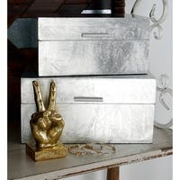 "Glam Metallic Silver Leaf Decorative Box Set of 2 - 13"" x 7"", 11"" x 6"""