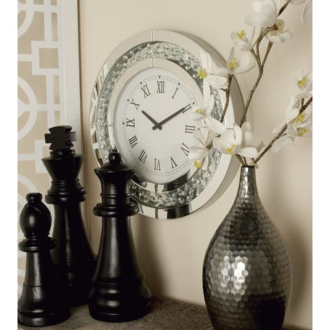Silver Orchid Taylor Jeweled Glass Mirror Wall Clock