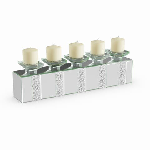 Silver Orchid Olivia Mirrored Brick Glass Candle Holder
