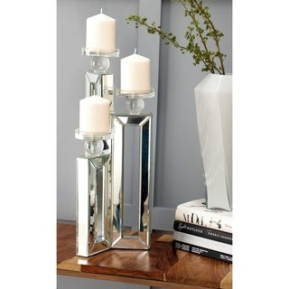 Silver Orchid Olivia Modern Reflections Mirrored 3-candle Holder 21-inches High x 7-inches Wide