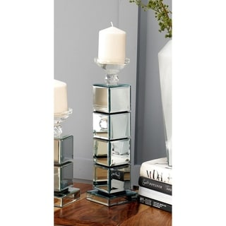Glam 16 Inch Stacked Mirrored Wooden Cubes Candle Holder by Studio 350