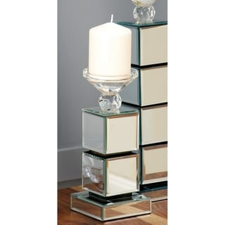 Link to Silver Orchid Olivia Wood/Glass 10-inches High x 4-inches Wide Mirrored Candleholder Similar Items in Accent Pieces