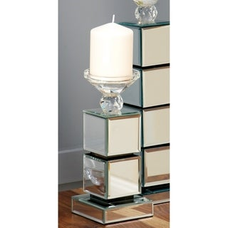 Silver Orchid Olivia Wood/Glass 10-inches High x 4-inches Wide Mirrored Candleholder