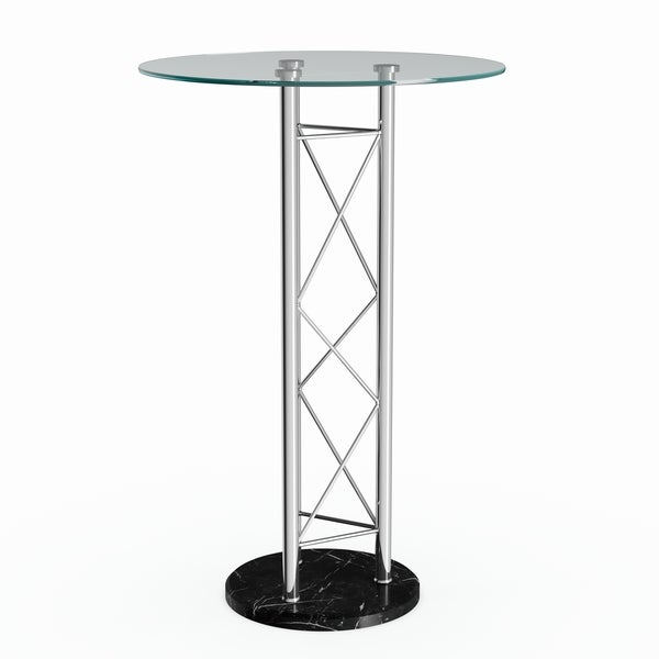 Silver Orchid Olivia Clear/Black Bar Table