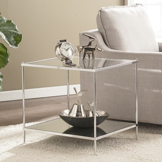 Silver Orchid Grant Glam Mirrored End Table Chrome