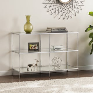 Silver Orchid Olivia Glam Mirrored Console Table Chrome