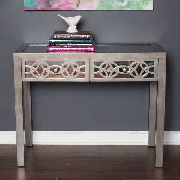 """Silver Orchid Olivia Silver Glam Slam Mirrored 2-drawer Console Table - 38""""L x 17.5""""W x 30.25""""H"""