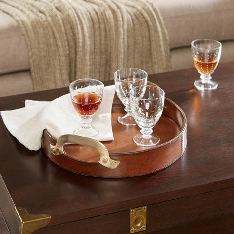 Madison Park Signature Camryn Brown Leather Tray with Handle - Small