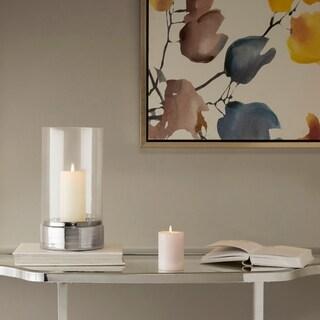 Madison Park Signature Lena Clear/ Grey Ceramic Candle Holder - Medium