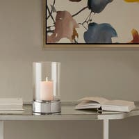 """Madison Park Signature Lena Clear/ Grey Ceramic Candle Holder - Small - 6.3""""w x 6.3""""d x 10.04""""h"""