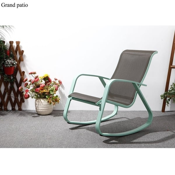 Peachy Shop Outdoor Rocking Chair With Wide Gliders Sling Steel Inzonedesignstudio Interior Chair Design Inzonedesignstudiocom