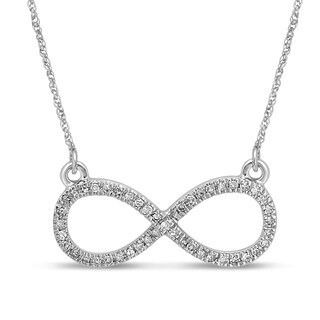 Unending Love 10K White Gold 1/8ct TDW Diamond (I-J Color, I2-I3 Clarity) Infinity Promise Pendant