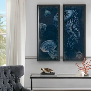 Madison Park Signature Jellyfish Blue Wooden Wall Art Set Of 2
