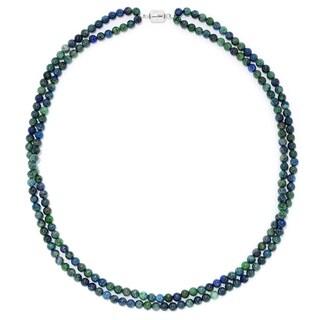 Pinctore SS Two Row Gemstone Beas Strand W/Magnetic Clasp Chrysocolla 24''