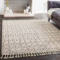Laci Cream/Grey Moroccan-patterned Tassel Area Rug (9'3 x 12'1)