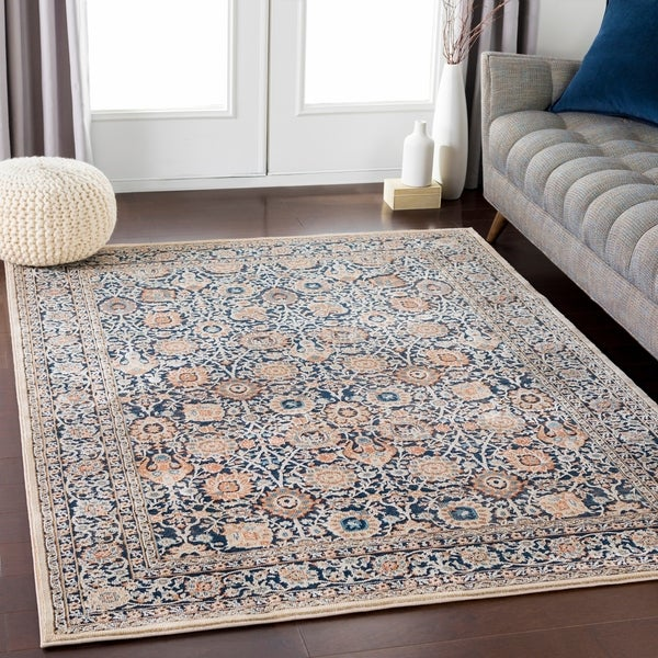 Black & Navy Elegant Traditional Area Rug (9' x 13') - 9' x 13'