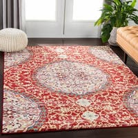 Reina Roxie Large Medallion Red/Blue Synthetic Fabric Area Rug - 9'3 x 12'6