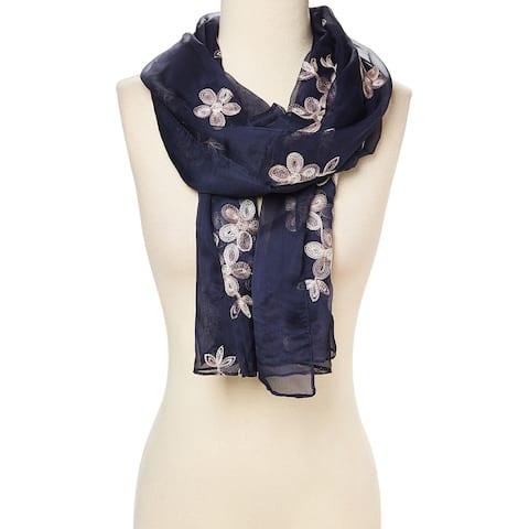 "Navy Blue Fashion Women Ladies Lightweight Slik Blend Scarf Scarves Shawl Wrap - 29""x72"""