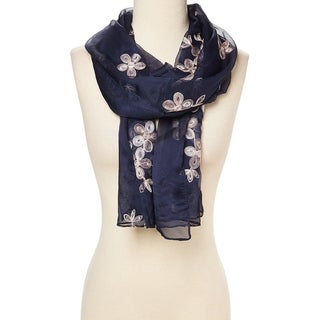 "Navy Blue Fashion Women Ladies Lightweight Slik Blend Scarf Scarves Shawl Wrap - 29""x72"""