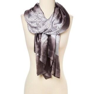 "Brown Silver Geometric Silk Blend Scarfs Shawl Scarves Wrap for Women - 29""x72"""