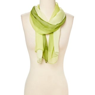Green Women's Scarf Printed Tri-Tone Silk Blend Shawl Scarves Wrap